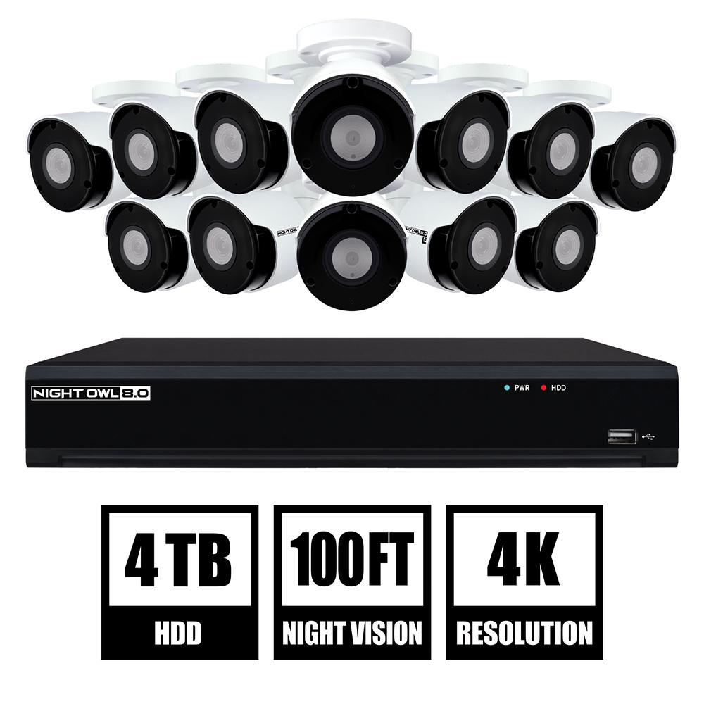 16-Channel 4K UHD Wired Smart Security NVR with 4 TB Hard
