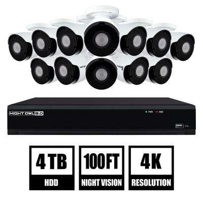 16-Channel 4K UHD Wired Smart Security NVR with 4 TB Hard Drive and 12-4K UHD IP Camera Security System