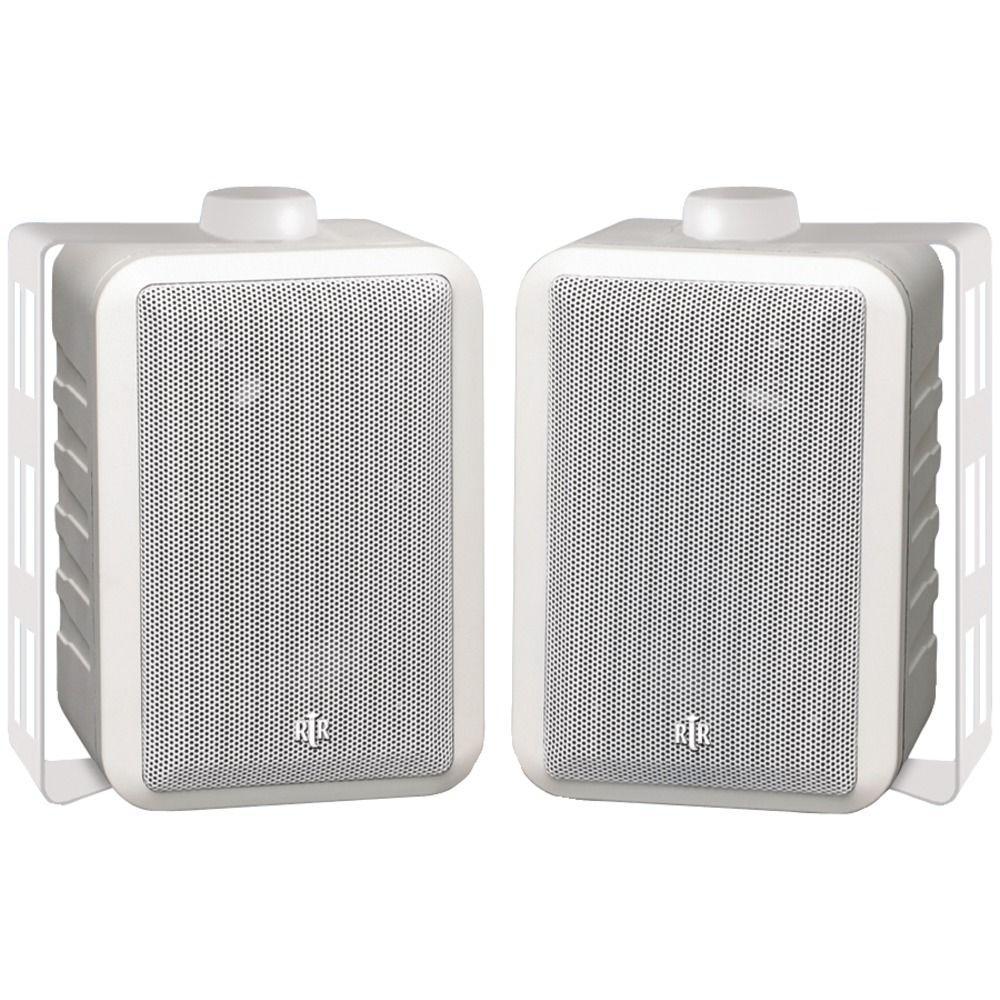 RtR Series 5-Watt Indoor/Outdoor 3-Way Speaker - White