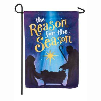 18 in. x 12.5 in. Reason for the Season Garden Suede Flag