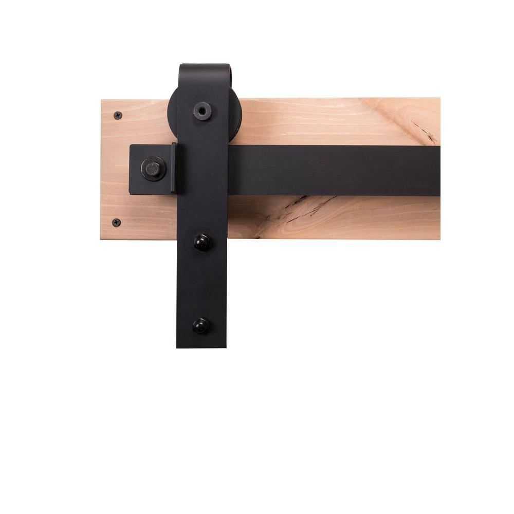 84 in. Flat Black Sliding Barn Door Hardware Kit with Ind...