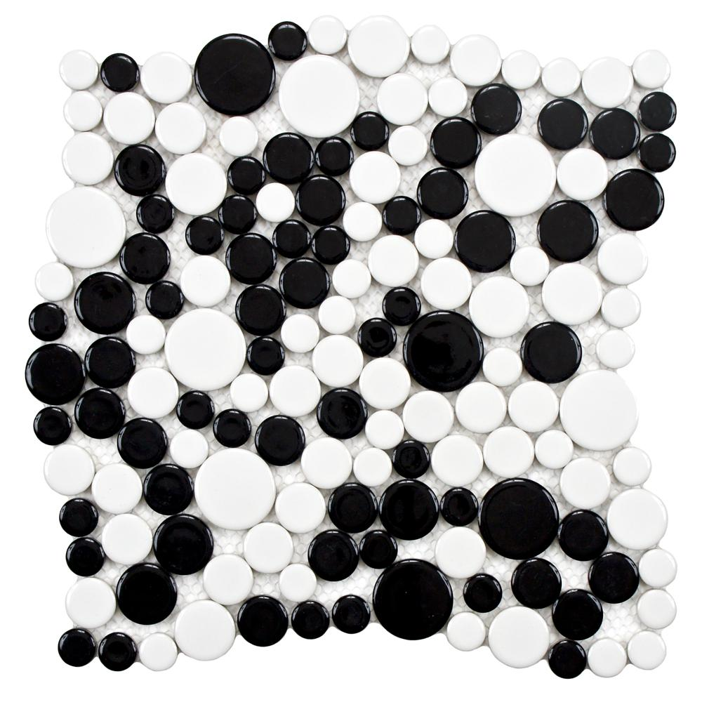 Wonderful Merola Tile Metro Bubble Glossy White and Black 12 in. x 12 in. x  NN37