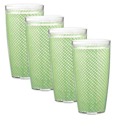 Fishnet 24 oz. Mist Green Insulated Drinkware (Set of 4)
