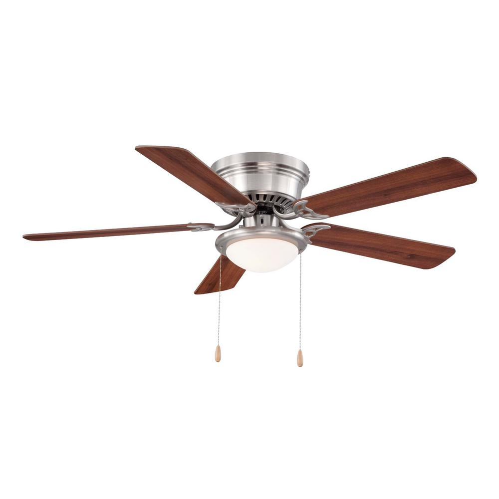 Hugger 52 in led indoor brushed nickel ceiling fan with Home depot kitchen ceiling fans