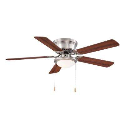Nickel indoor flush mount ceiling fans lighting the home depot led indoor brushed nickel ceiling fan with light kit aloadofball Choice Image
