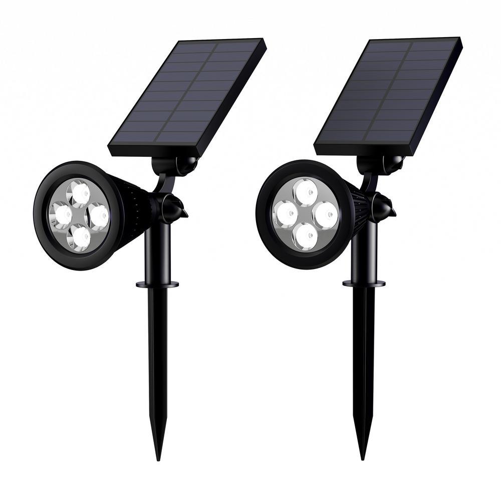 Pure Garden Black Outdoor Integrated Led Landscape Solar Spotlights 2 Pack Hw1500093 The Home Depot