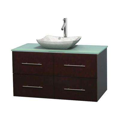 Centra 42 in. Vanity in Espresso with Glass Vanity Top in Green and Carrara Sink