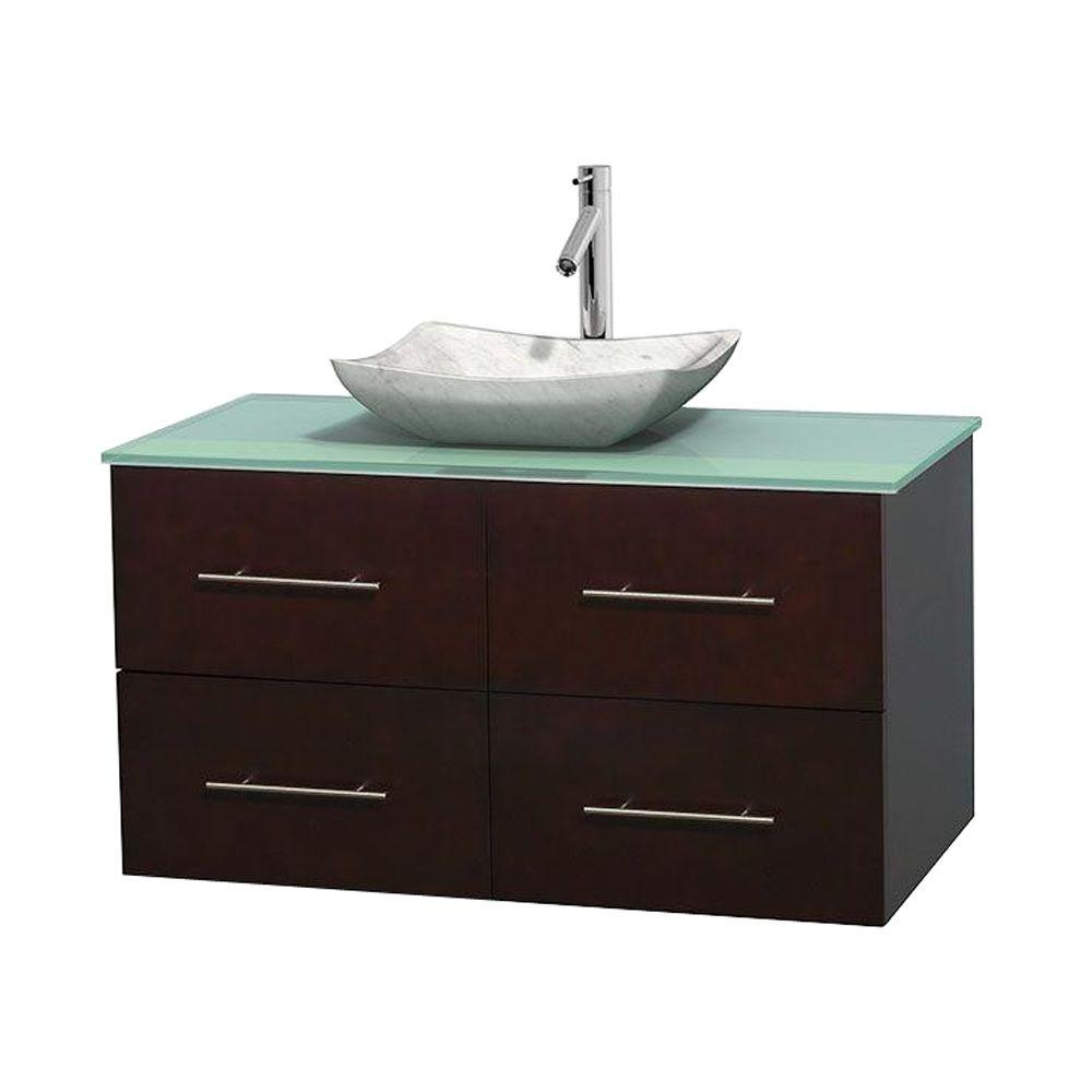 Wyndham Collection Centra 42 in. Vanity in Espresso with Glass Vanity Top in Green and Carrara Sink
