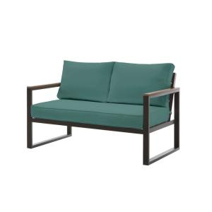 West Park Black Aluminum Outdoor Patio Loveseat with CushionGuard Charleston Blue-Green Cushions