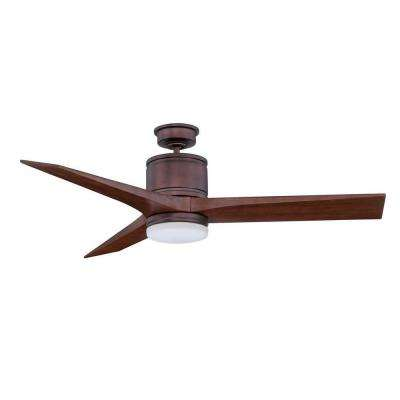 Woodstock 52 in. Oil Brushed Bronze Ceiling Fan with Carved Wood Blades