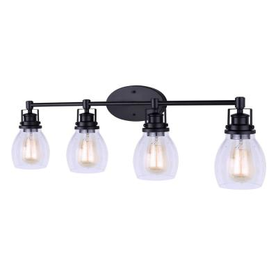 Carson 33 in. 4-Light Matte Black Vanity Light with Seeded Glass Shade