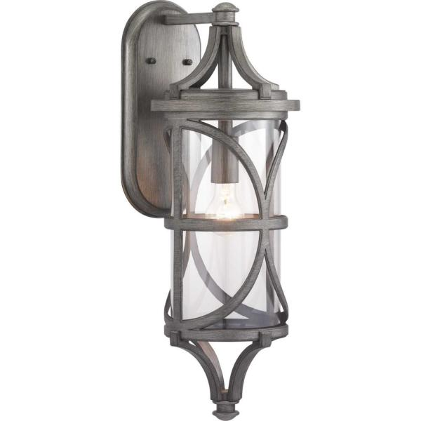 Morrison Collection 1-Light Antique Pewter Outdoor Wall Lantern Sconce