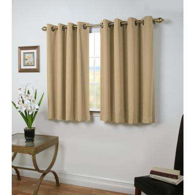 Blackout Grand Pointe Short Length Grommet Panel Woven with Blackout Yarns 54 in. W x 54 in. L in Natural