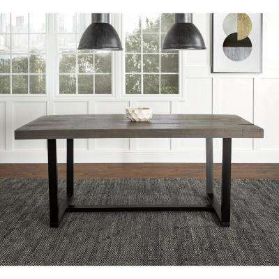 72 in. Grey Rustic Farmhouse Industrial Distressed Solid Wood Kitchen Dining Table
