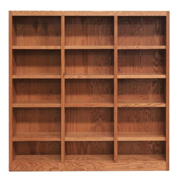 Concepts In Wood 72 In Dry Oak Wood 15 Shelf Standard Bookcase With Adjustable Shelves Mi7272 D The Home Depot