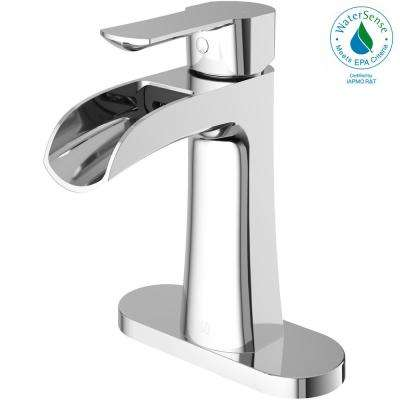 Paloma Single Hole Single-Handle Bathroom Faucet with Deck Plate in Chrome