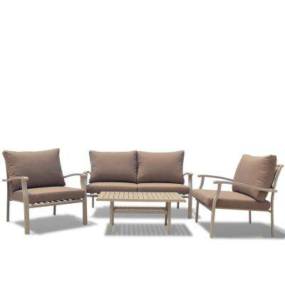 Columbia Sand 4 -Piece Aluminum Outdoor Sofa Set with Sand Cushions