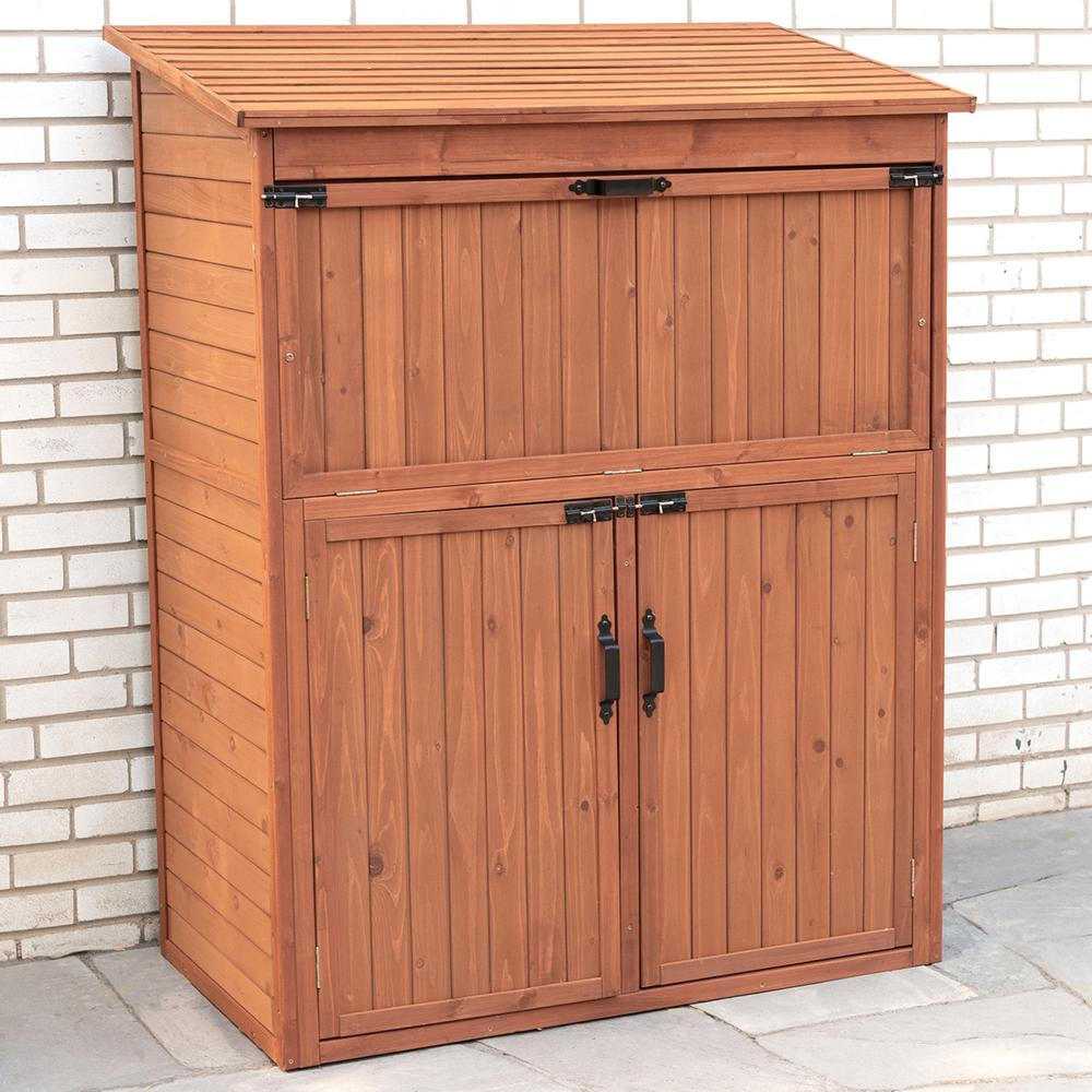 Leisure Season 50 in. W x 29 in. D x 63 in. H Medium Brown Cypress Storage Shed Cabinet with Drop Table