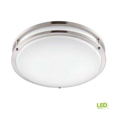 10 in. Brushed Nickel/White LED Ceiling Low-Profile Flush Mount