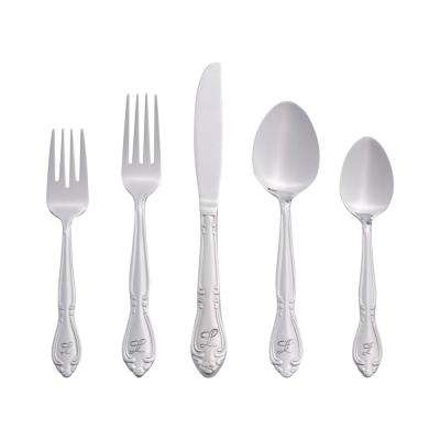 Rose Monogrammed Letter L 46-Piece Silver Stainless Steel Flatware Set