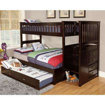 Espresso Twin over Full Solid Pine Staircase Bunkbed with 4-Drawer Chest and Twin Trundle