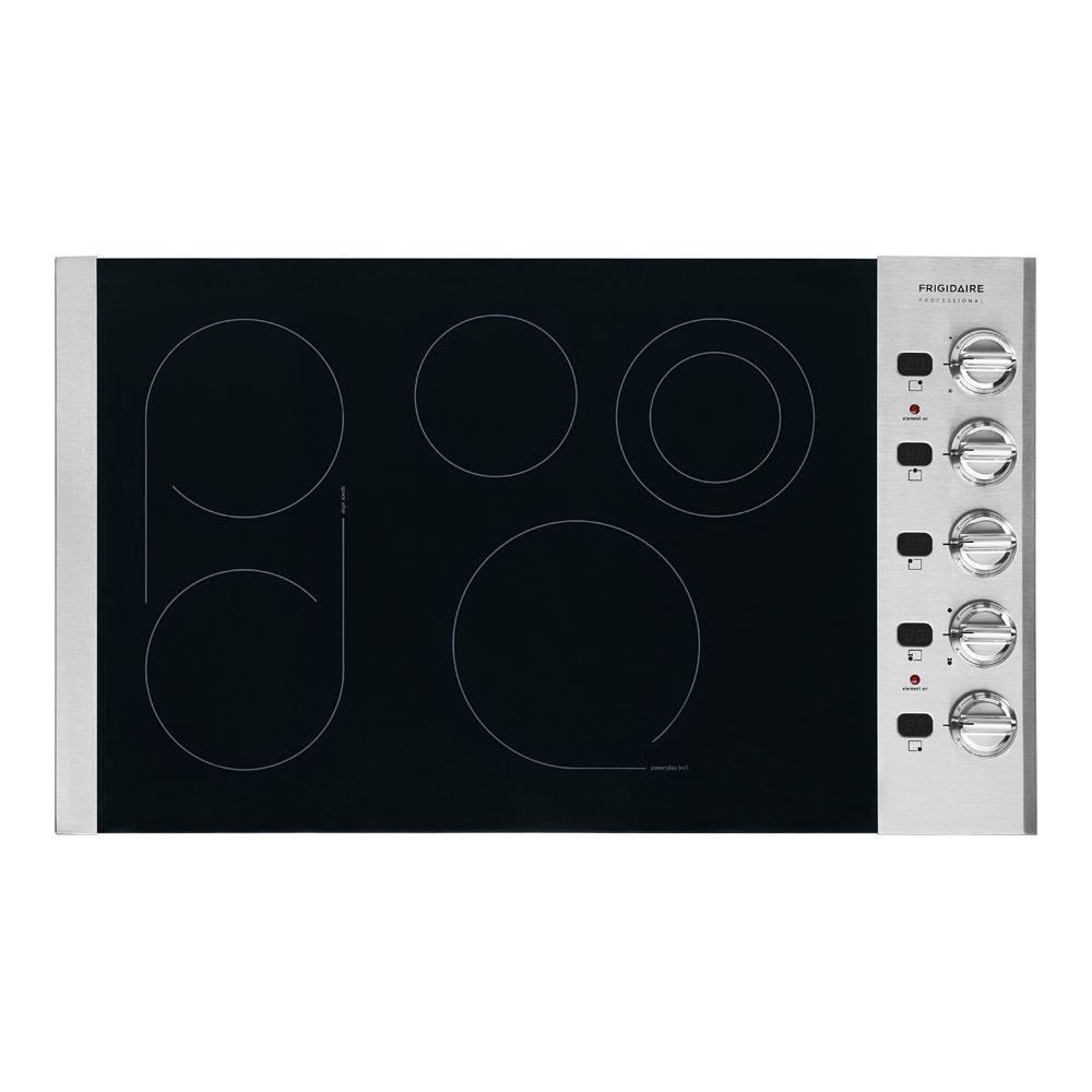 Frigidaire Professional 36 in. Smooth Surface Electric Cooktop in Stainless Steel with 5 Elements including a PowerPlus Element
