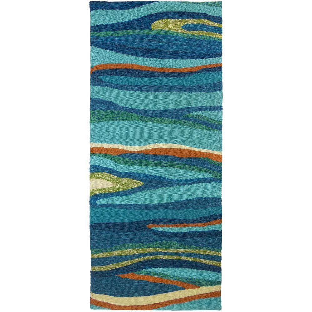 Ocean Waves Blue 2 ft. x 5 ft. Indoor/Outdoor Runner Rug