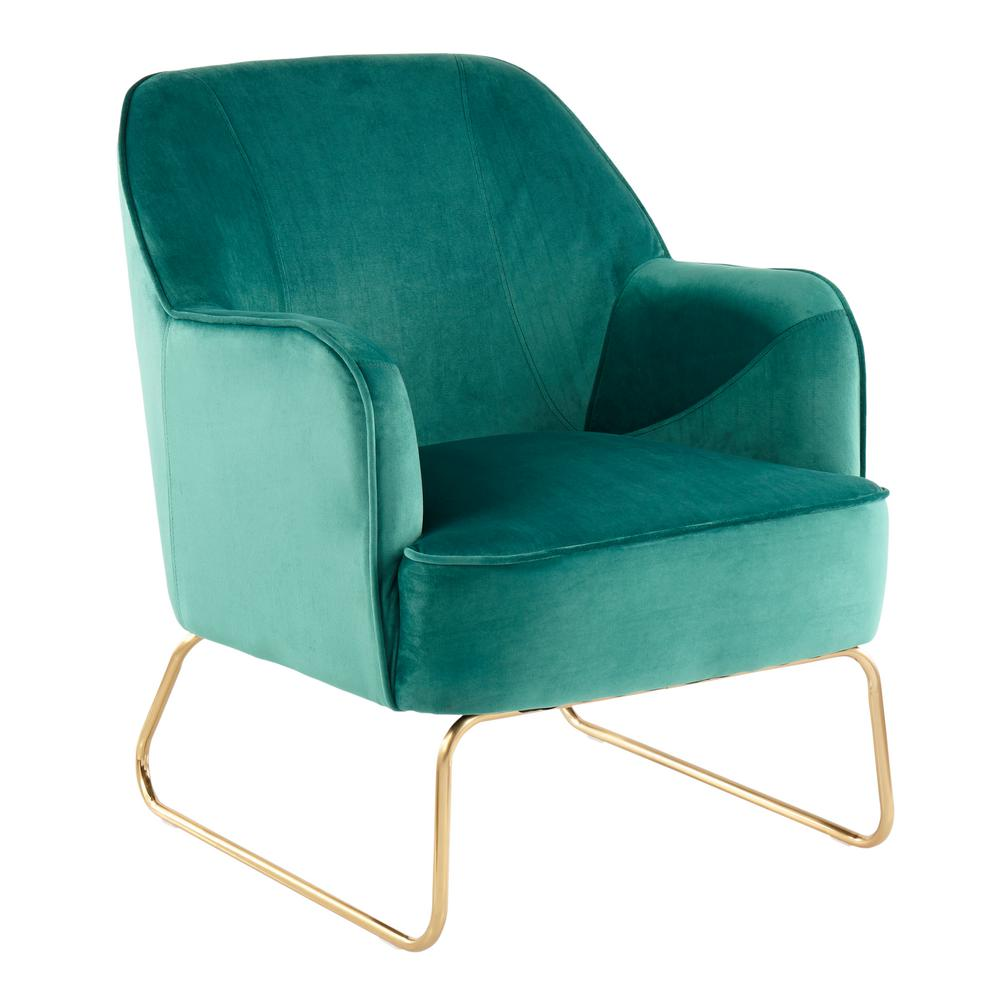 Excellent Lumisource Daniella Green Velvet Accent Chair With Gold Evergreenethics Interior Chair Design Evergreenethicsorg