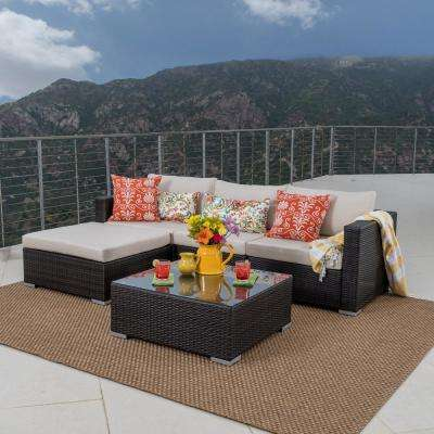 Santa Rosa Multi Brown 5-Piece Wicker Outdoor Sectional Set with Beige Cushions