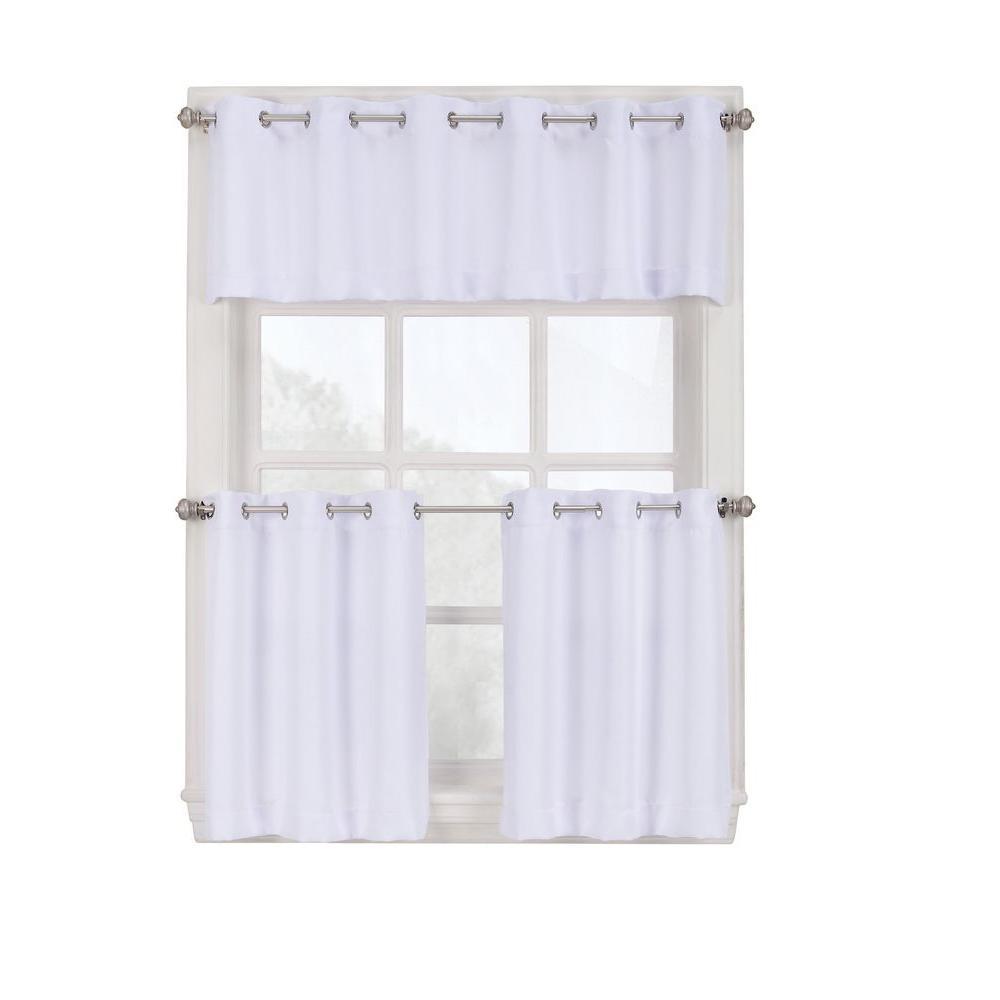 LICHTENBERG Semi-Opaque White Montego Grommet Kitchen Curtain Tiers, 56 in.  W x 36 in. L