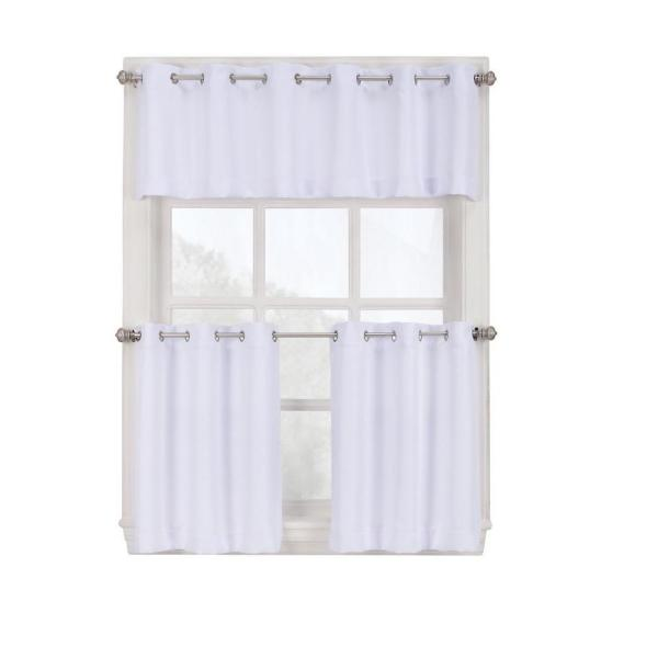 Semi-Opaque White Montego Grommet Kitchen Curtain Tiers, 56 in. W x 36 in. L