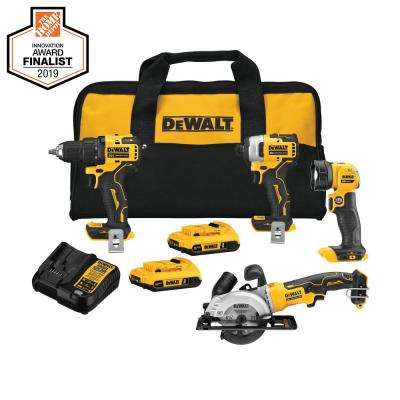 ATOMIC 20-Volt MAX Lithium-Ion Brushless Cordless Combo Kit (4-Tool) with 2 Batteries 2.0 Ah, Charger, and Tool Bag