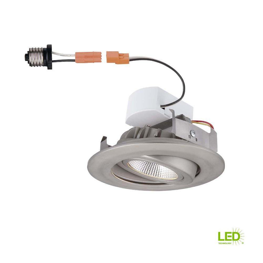 4 in. Brushed Nickel Recessed LED Gimbal Trim