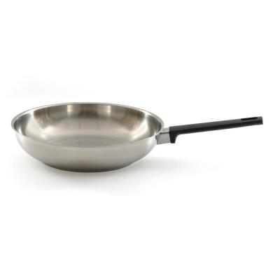 Ron Stainless Steel 11 in. Frying Pan with Black Handle