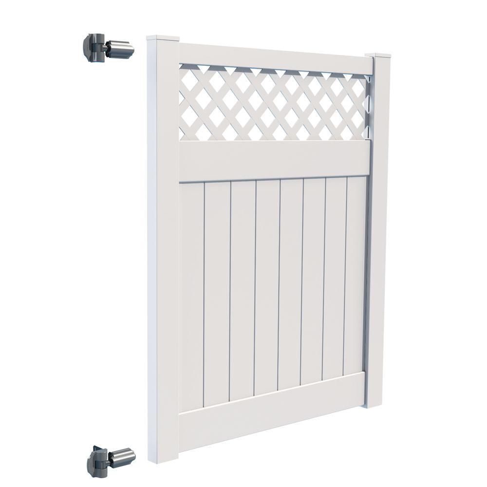 Carlsbad 5 ft. W x 6 ft. H White Vinyl Un-Assembled Fence Gate