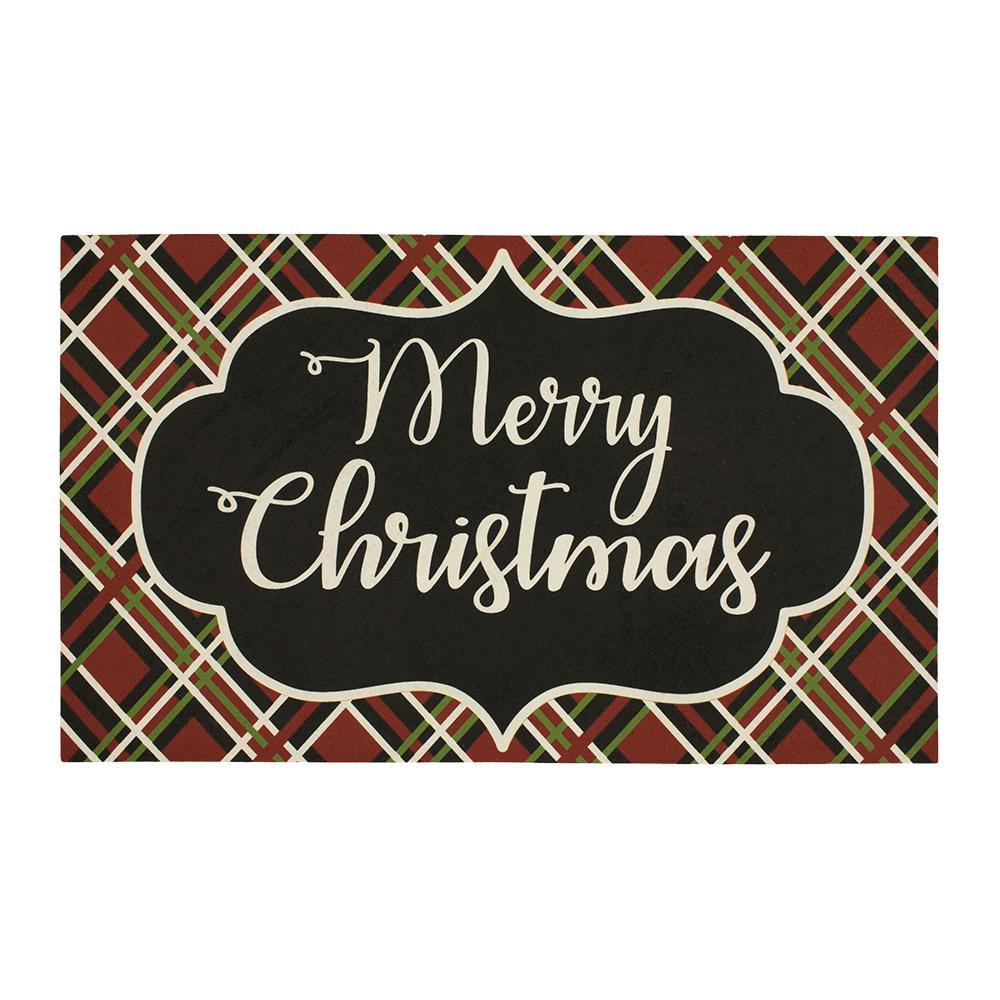 Christmas Calligraphy 18 in. x 30 in. Elegant Entry Door Mat