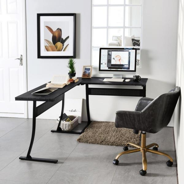 Sumyeg 54 3 In Black L Shaped Computer Desk Corner Workstation Study Gaming Table Home Office With Metal Frame Dieguez Black Wood The Home Depot