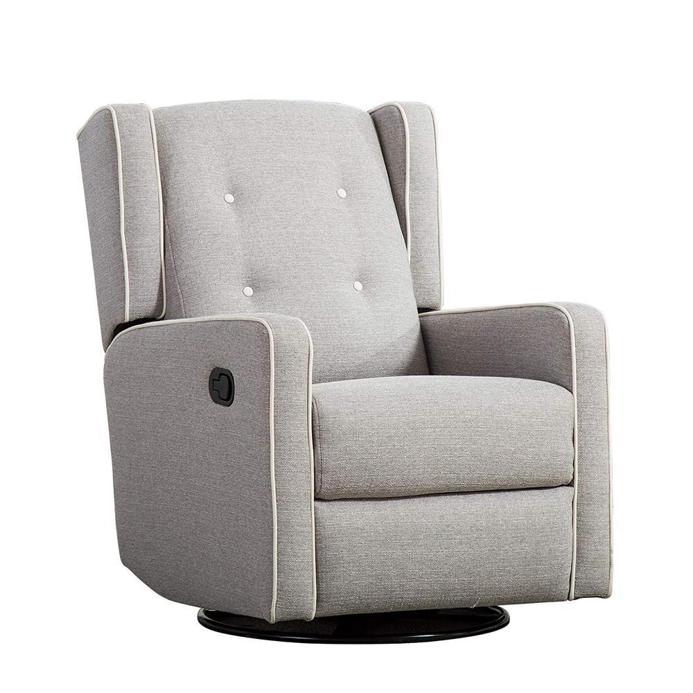 Chic Light Gray Soft Foam-Filled Cushion Recliner Armrest Push Back Chair