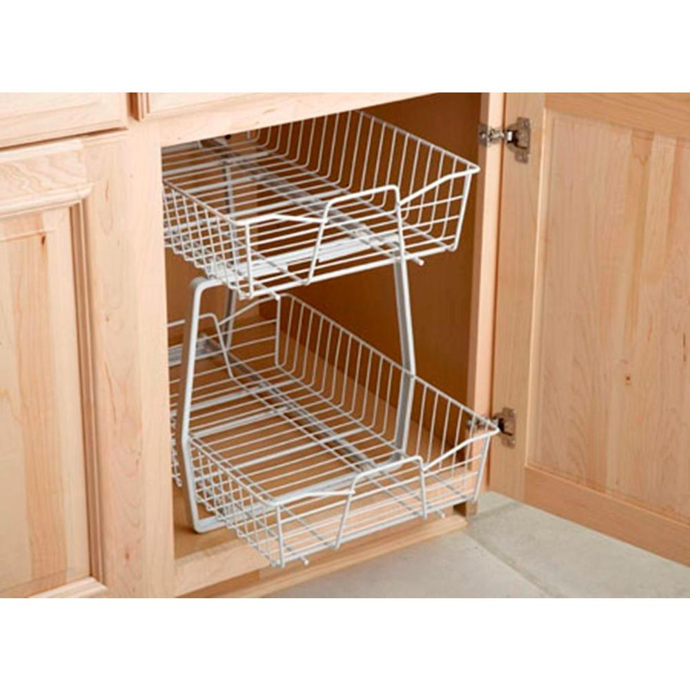 Home Depot Kitchen Cabinet Organizers ClosetMaid 14 in. W 2 Tier Ventilated Wire Sliding Cabi