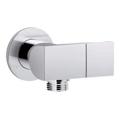 1/2 in. Metal 90-Degree NPT Wall-Mount Supply Elbow with Check Valve and Hand Shower Holder in Polished Chrome