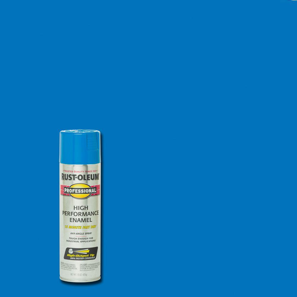 Rust-Oleum Professional 15 oz  High Performance Enamel Gloss Safety Blue  Spray Paint