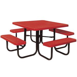 Portable Red Diamond Commercial Park Square Picnic Table by