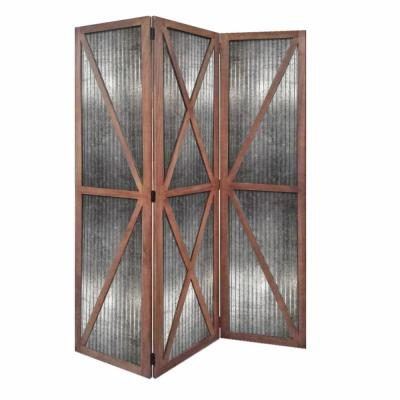Mariana 67 in Silver And Brown Wood And Metal Industrial Screen Panel