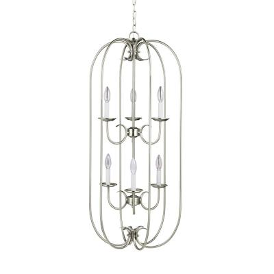 Holman 6-Light Bell Metal Bronze Hall-Foyer Pendant with Dimmable Candelabra LED Bulb