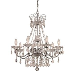 8- Light Polished Chrome Chandelier with Crystal Beads