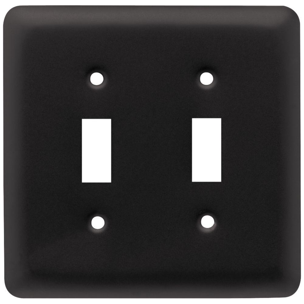 Black Switch Plates Brilliant Liberty Stamped Round Decorative Double Switch Plate Flat Black Inspiration