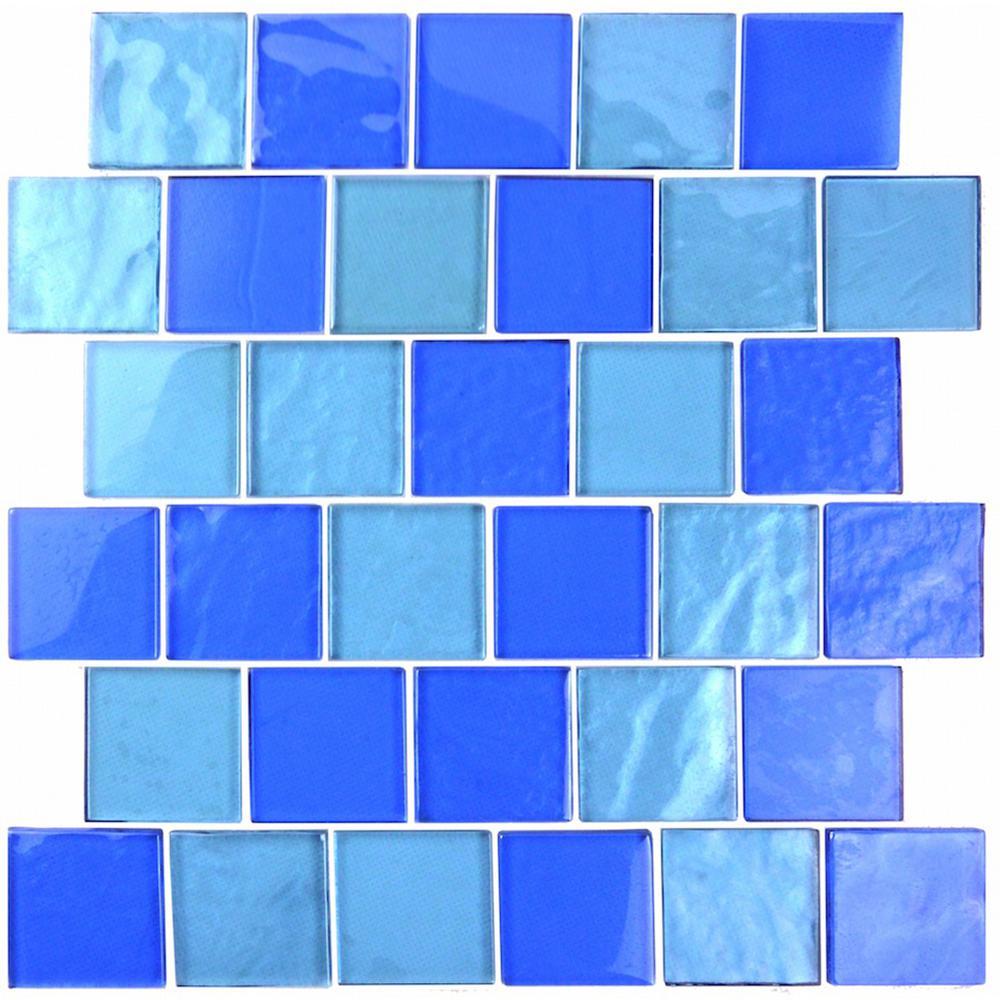 Cobalt blue glass tile backsplash