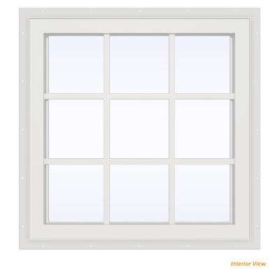23.5 in. x 23.5 in. V-4500 Series Red Painted Vinyl Fixed Picture Window with Colonial Grids/Grilles