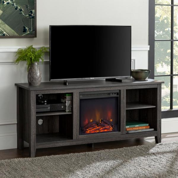 58 in. Rustic Farmhouse Fireplace TV Stand - Charcoal