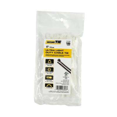 4 in. Ultra Light Duty Cable Tie, 18 lb. Tensile, Natural, 100-Pack (Case of 10)